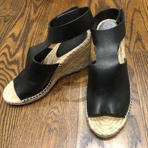 Celine Black Leather Espadrille Wedge, Size 39